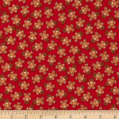 Timeless Treasures Jingle All the Way Flannel Gingerbread Men Red