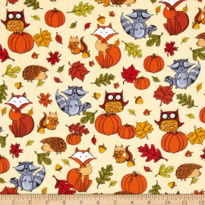 Timeless Treasures Pumpkin Patch Flannel Pumpkins & Critters Cream