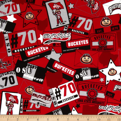 Collegiate Cotton Broadcloth Ohio State University Block Print Red