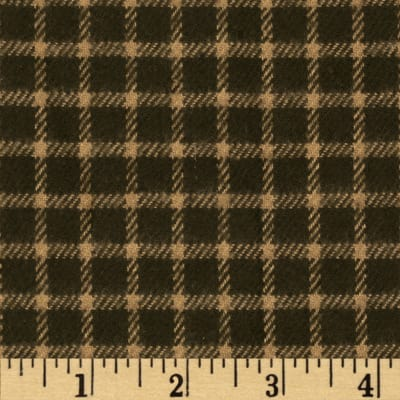 Primo Plaids Flannel Christmas II Small Check Olive/Tan