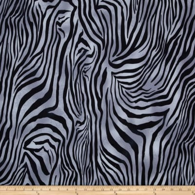 Spandex Stretch ITY Jersey Knit Zebra Grey/Black