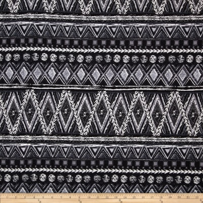 Poly Spandex Stretch ITY Jersey Knit Abstract Black/White/Charcoal
