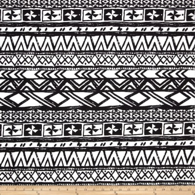 Poly Spandex Stretch ITY Jersey Knit Abstract Aztec Black/White
