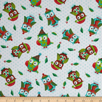Owl Be Home for Christmas Tossed Owls Green