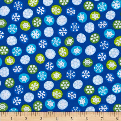 QT Fabrics Silly Snowman Snowflakes Royal Blue
