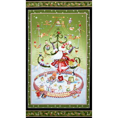 "More Merriment Santa on Skates 24"" Panel Green"