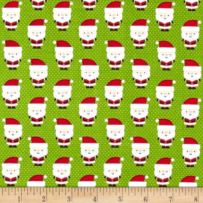 Riley Blake Santa Express Santa Claus Green