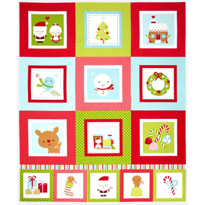 Riley Blake Santa Express 24 In. Santa Panel Blue
