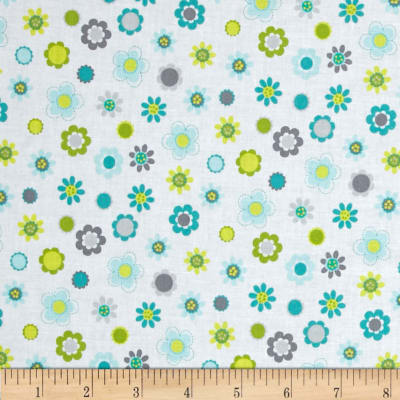 Whoo Loves You Floral Gray/Turquoise