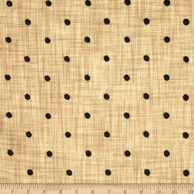 Tempo Faux Linen Embroidered Dot Onyx