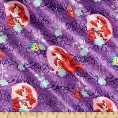 Disney My Little Mermaid Brushed Back Satin Lavender