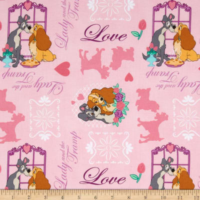 Disney Lady & The Tramp Allover Pink