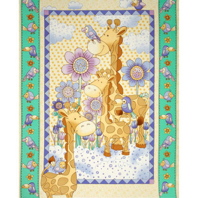 Giraffe Family Baby Panel Multi
