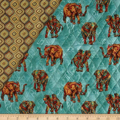 Tribal Instincts Double Sided Quilted Tribe Elephant Neutral