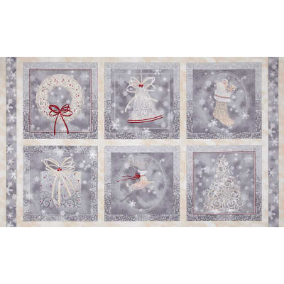 Holiday Elegance Picture Patches Panel Gray