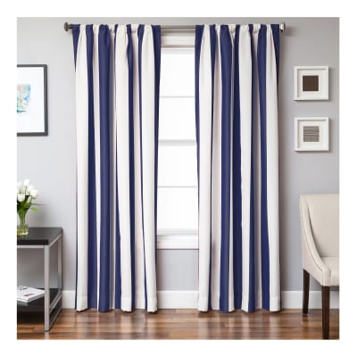 Sunbrella 84'' Stripe Rod Pocket Curtain Panel Natural/Navy