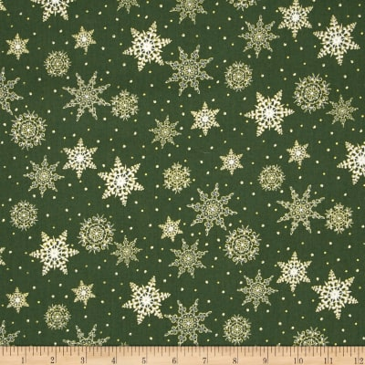 Jolly Old St. Nick Metallic Snowflakes Green
