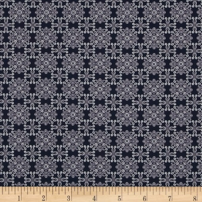 Morocco Blues Stretch Poplin Medallion Navy/Grey