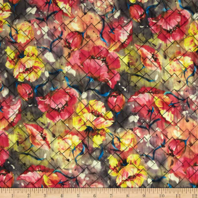 Rain or Shine Watercolor Floral Double Sided Quilted Yellow/Pink/Blue