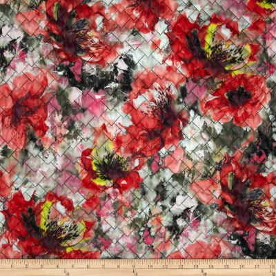 Telio Rain or Shine Watercolor Floral Double Sided Quilted Coral/Pink/Green