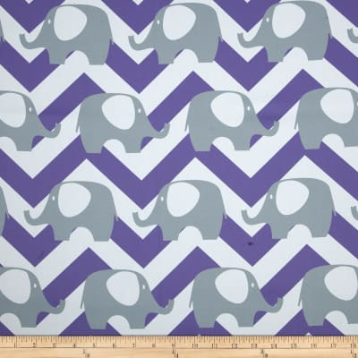 RCA Elephant Chevron Blackout Drapery Fabric Grey/Purple