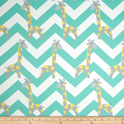 RCA Giraffe Chevron Blackout Drapery Fabric Lemon/Jade