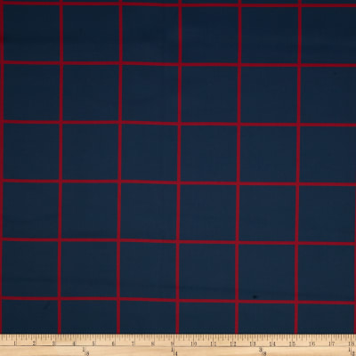 RCA Large Check Blackout Drapery Fabric Navy/Red