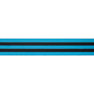"1 1/2"" Grosgrain Power Stripes Ribbon Turquoise"