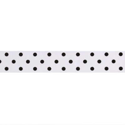 "1 1/2"" Grosgrain Dippity Dot Ribbon White/Black"