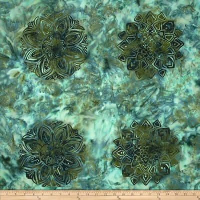 Bali Batiks Handpaints Medallion Tile Pine