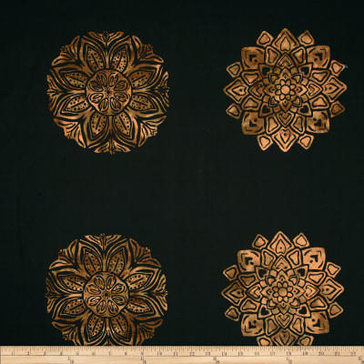 Bali Batiks Handpaints Medallion Tile Antique Black