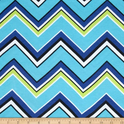 Cotton Spandex Jersey Knit Chevron Royal/Lime/White/Black