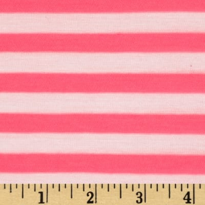 Yarn Dyed Jersey Knit Stripe Neon Pink/White