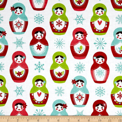 Riley Blake Merry Matryoshka Dolls White