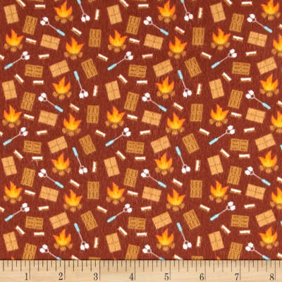 Riley Blake Happy Camper Flannel Smores Brown