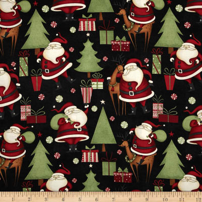 Debbie Mumm Peppermint Santas Structured Santa Black
