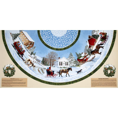 "Sleigh Ride 58"" Tree Skirt Panel Multi"