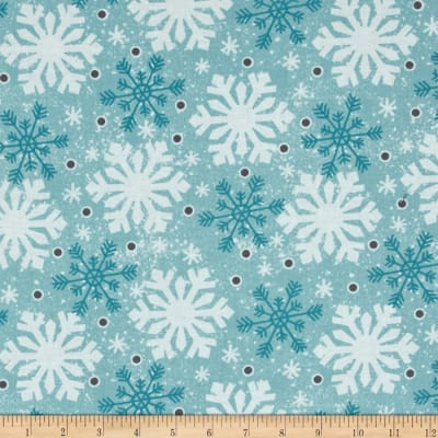 Debbie Mumm All Bundled Up Large Snowflakes Blue