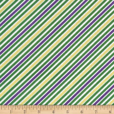 Kaufman Remix Metallic Diagonal Stripe Mardi Gras