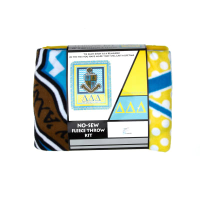 No Sew Fleece Kit Delta Delta Delta Blue/Yellow/White