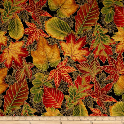 Kaufman Shades of the Season Metallic Large Leaves Black