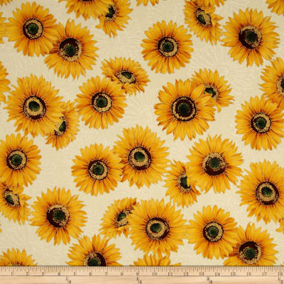 Kaufman Shades of the Season Metallic Sunflowers Ivory
