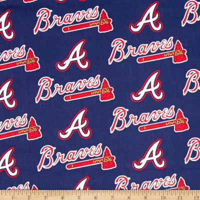 MLB Cotton Broadcloth Atlanta Braves Navy/Red