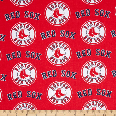 MLB Cotton Broadcloth Boston Red Sox Red/Blue