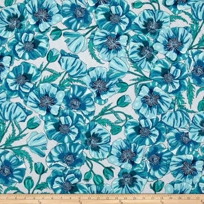 Kaufman In the Bloom Large Flowers Turquoise