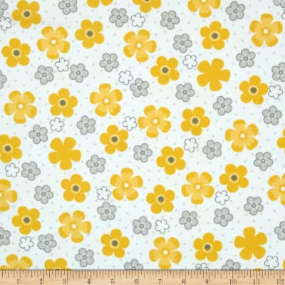 Kaufman Cozy Cotton Flannel Daisy Flower Yellow