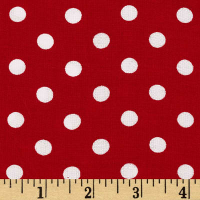 Rayon Challis Small Dots Red/White