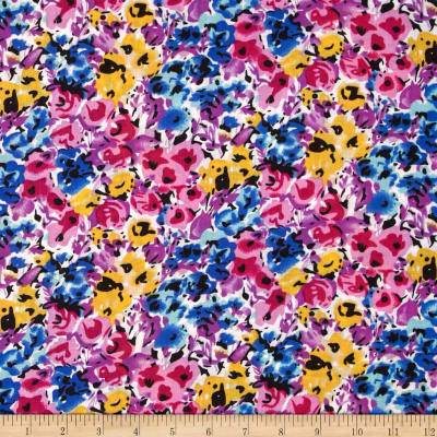 Rayon Challis Ditzy Floral Yellow/Blue/Rose/Violet