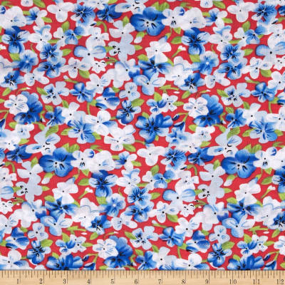 Rayon Challis Ditzy Floral Green/Blue/Red