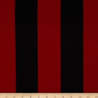 Soft Jersey Knit Stripes Burgundy/Black